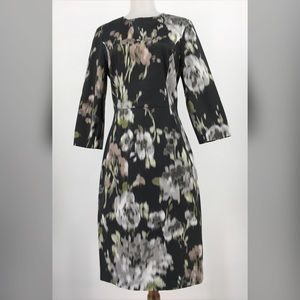 Vera Wang Collection Dress Dark Gray Floral Sheath